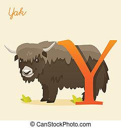 Animal alphabet with yak, illustration
