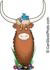 Animal Alphabet Yak - A yak with a few bluebirds on his head...