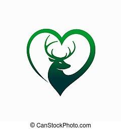 animal, amants, logo, cerf