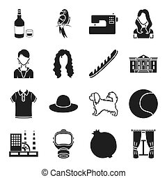 animal, architecture, food and other web icon in black...