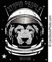 Animal astronaut suit. Hand drawn vector illustration