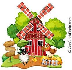 Animal at farm house illustration