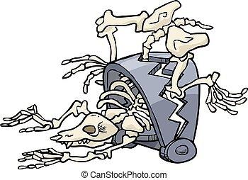 animal, atrapado, esqueleto