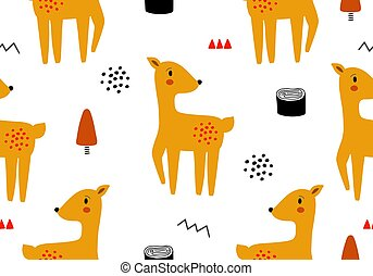 Animal baby pattern with deer.