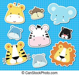 animal baby vector - set of cute baby safari animals heads,...