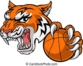 animal, baketball, sports, tigre, joueur, mascotte
