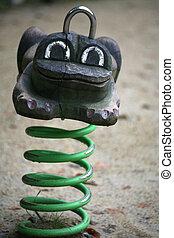 animal, balancer, grenouille, formulaire, cour de récréation