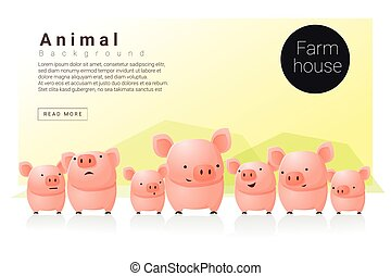 Animal banner with Pigs for web design 1