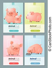 Animal banner with Pigs for web design 4