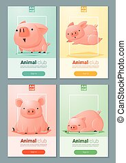 Animal banner with Pigs for web design 5