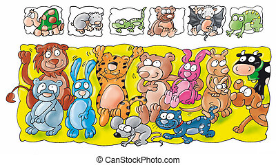 animal bat, rabbit, tiger, cow, mouse, frog