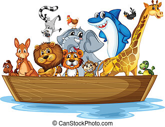 animal, bateau
