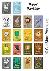 animal birthday card set