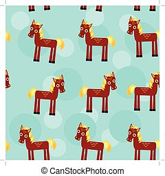 animal, brun, modèle, rigolote, crinière, cheval, jaune, seamless, mignon