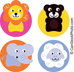 Animal buttons set isolated on white