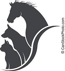 animal, cão, cavalo, gato, amante, ilustração