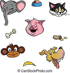 animal, cabezas, papel pintado, plano de fondo