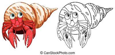 animal, cangrejos, garabato, ermitaño, contorno
