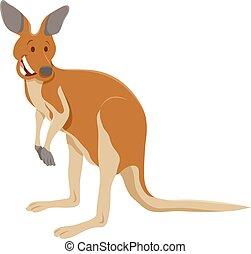 animal, canguro, caricatura, divertido, carácter