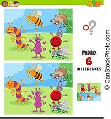 animal, caráteres, jogo, insetos, diferenças, grupo