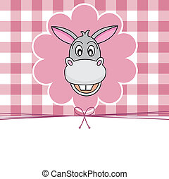 Animal card. donkey