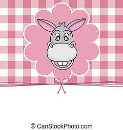 Animal card. donkey