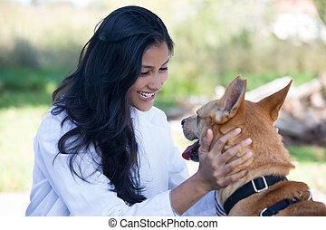 Animal care - Closeup portrait, sweet moments healthcare...