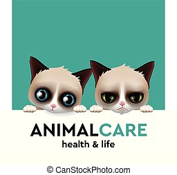 Animal care hospital concept, pet care, vector illustration.