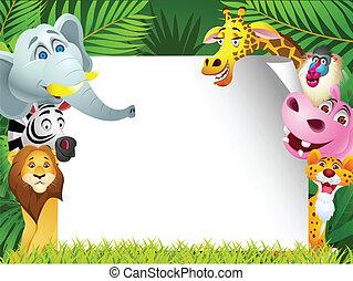 animal, caricatura, com, sinal branco