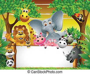 animal, caricatura, con, muestra en blanco