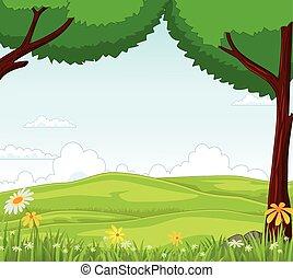 animal, caricatura, em, a, selva