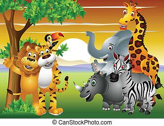 animal, caricatura, en, el, selva