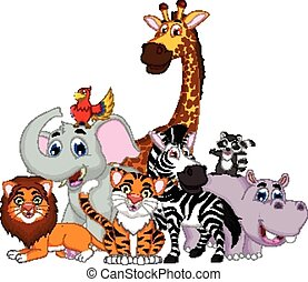animal, caricatura, posar