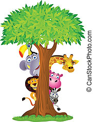 animal, caricatura, se esconder atrás, árbol
