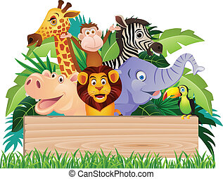 Animal cartoon and signboard - Vector illustration of animal...