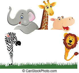 Animal cartoon and white space - Vector illustration of...