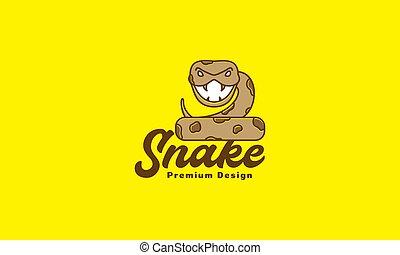 animal cartoon cute snake Python logo vector symbol icon design illustration
