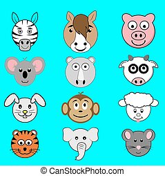 Animal cartoon faces