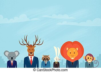 Animal Cartoon Head Businessman Suit Collection Set