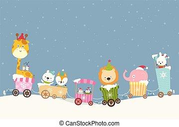 Animal cartoon on train smile with happiness 001