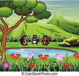 Animal cartoon playing near the small pond