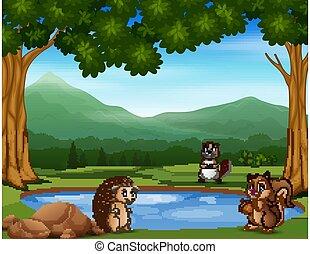 Animal cartoon standing near the small pond