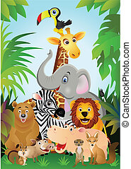 Vector illustration of group animal cartoon