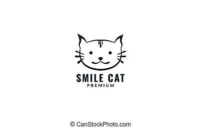animal cat exotic face head cute line logo design