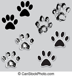 Animal cat paw track feet print icons with shadow. Foot...