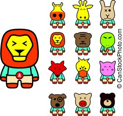 animal character flat icon set