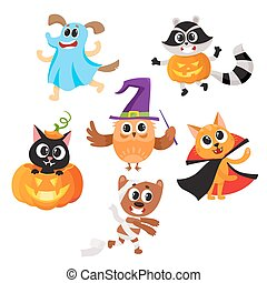 Animal characters dressed in Halloween costumes