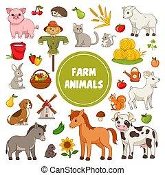 animal, collection, grand, coloré, icônes, ferme