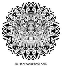 Animal concept. Line design. The head of a eagle.