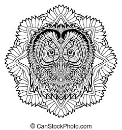 Animal concept. Line design. The head of a owl.